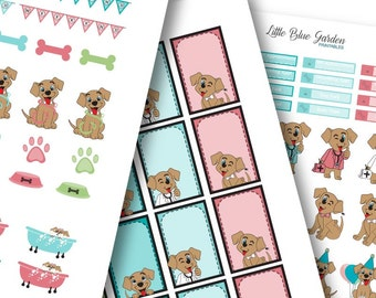 My Little Pup Color Medley: Coral & Turquoise Planner Stickers -Instant Download, printable sticker kit, eclp stickers