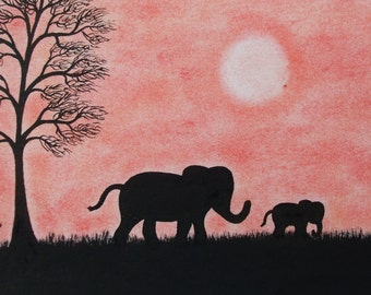 Elephant Gift, Mothers Day Elephant Art Print, Elephant and Baby, Framed Elephant Silhouette Print, Mother Daughter Gift, Father Elephant