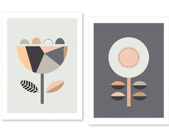 Scandi Flowers (Apricots), Series of two. Scandinavian art,Scandi art, geometric, Nursery art, Flower prints, Scandi baby.