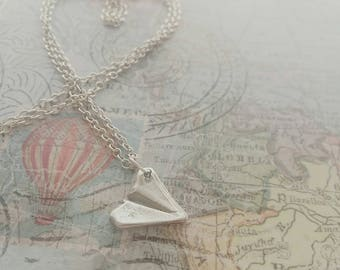Silver handmade paper plane necklace