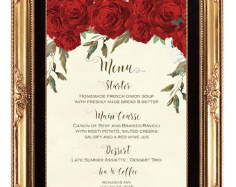 printable custom menu, custom wedding menu, digital custom menu, red roses wedding menu, roses customized menu, YOU PRINT IT, 7 X 5