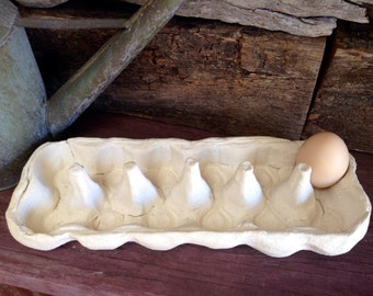 Easter Gift - Handmade Ceramic Egg Holder, 12 eggs, white clay, rustic storage, kitchen decor