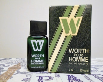 vintage Worth Pour Homme eau de toilette mini splash bottle.  7 ml miniature fragrance bottle. For men.