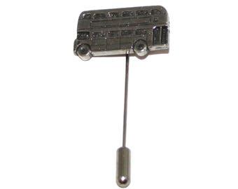 Double Decker Bus Lapel Stick Pin, English Pewter, Handmade, cravat, tie (wa)
