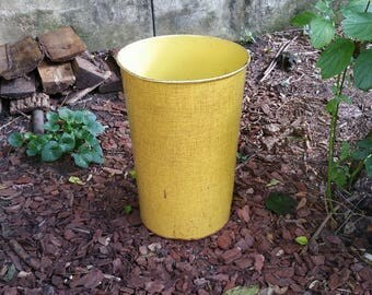 Vintage Bright Yellow Industrial Waste Basket NESCO