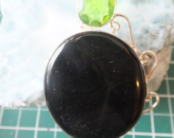 Onyx and Peridot Pendant with Sterling Chain