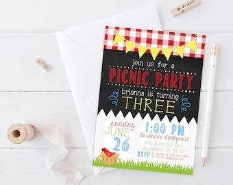 Picnic Birthday party invitation, Picnic birthday, Picnic party, summer party, summer birthday party invitation, picnic first birthday party
