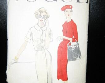 Vogue Dress Pattern #8878, Copyright 1956, Size 14 Slim Dress, Printed Pattern, Vintage Sewing Pattern