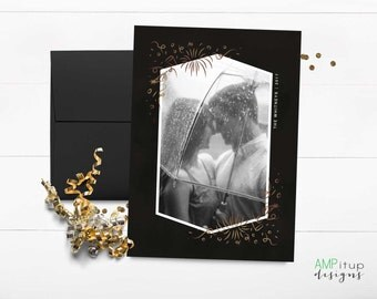 New Year's Celebration Photo Card - New Year's Card - New Year Photo Card - Faux Gold Foil and Black - New Year Holiday Card - Printable