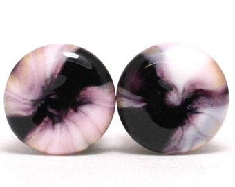 "Glass Ear Plugs Black Pink Swirl Hand Melted - ""Blink"" Premium Ear Plugs"