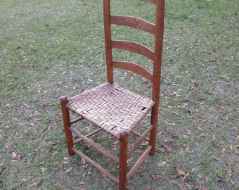 Vintage,ladder Back Chair,very Old,good,vintage Condition,wood With