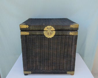 Vintage,20 x 20 x 20,black painted wicker with brass detail,hardware,square,treasure chest,trunk,metal,box,latch,handles,storage,man cave