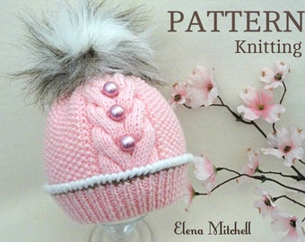 Knitting Pattern Baby Hat Patterns Baby Beanie Baby Boy Baby Girl Hat Knitted Baby Hat Knitted Baby Beanie PomPom Hat Infant Hat Pattern PDF