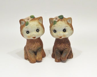 Vintage Porcelain Salt & Pepper Shakers Brown Kittens