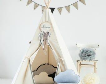 """Teepee tent Teepee Tents Kids - Kids Teepee - Play Tent - Teepee tent - Childrens Teepee Play Teepee - Kids Teepee Play Tent """"gray pompons"""""""