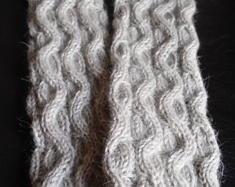 Hand Knitted Arm-Warmers, Fingerless-mittens - long ( 37 cm / 14,5 in)
