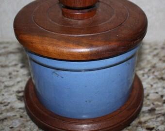 Blue Crock / Salt Box or Grease Jar