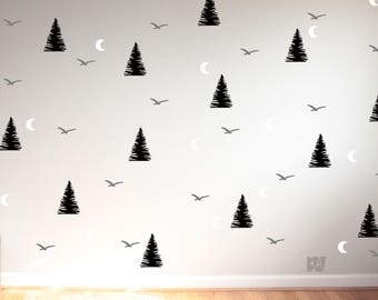 Forest Wall Decals. Tree Wall Decals. Animal Decals. Moon Decals. Wall Decal. Nursery wall decals. Home decor decals. Nature Decor.