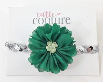 Green Baby Headband, Green Headband, St Patrick's Day Headband, shamrock Headband, flower headband, silver and green headband, green clip