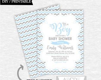 Baby Blue Grey Chevron Boy Baby Shower Invitation DIY Printable (CHW002)