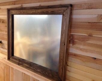 "28"" x 40"" Magnetic Board, Rustic Framed, Framed Magnetic Panel"