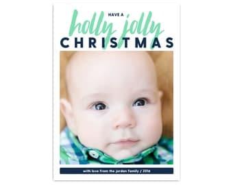 Modern Holiday Photo Cards // Christmas Photo Cards // Holly Jolly Christmas Card // 5x7 Printable Photo Christmas Card // The Jordans