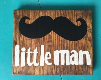 Little Man Wood Block Sign