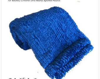 Worlds Softest Minky Cuddle Fur Blanket - Reversible Soft Blue Knit Minky With White Crushed Minky Cuddle Fur All Sizes and Colors
