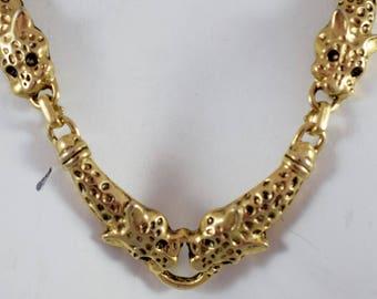"""Vintage Signed 24"""" Necklace ~ Gold-Tone Metal Tiger / Leopard Links with Black Enamel Eyes"""