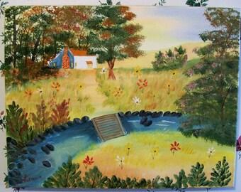 Cabin Near the Creek Landscape Original oil Painting, Hand painted, Bridge painting, Home painting, Cabin painting, Painted in the USA, #45