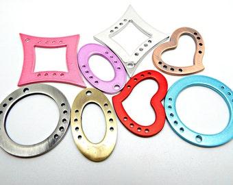 8 Brass Connectors, Focal Components, Metal Pendants, Assorted Shapes, 45 to 53mm Links, Heart Connectors, Multiple Holes, UK Seller