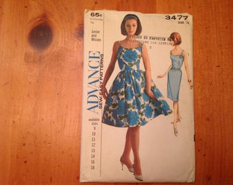 Advance pattern #3477, Junior/Misses Size 12 Dress pattern with two skirts