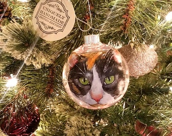Christmas Ornament - Hand Painted Cat Portrait