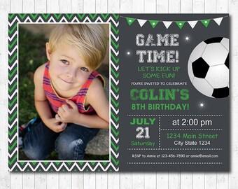 Soccer Birthday Party Invitation, Soccer Invite, Soccer party, Football Invitation, Football Invite, Sports Invitation, photo invitation
