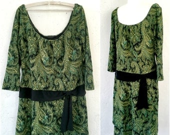 Green paisley print dress * Vintage 80s dress * Lower waist dress * Waist bow dress * Dress XLarge XXL
