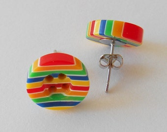 Rainbow Earrings, Cute Button Studs, Gay Pride Accessory, Bright Gifts, Colouful Presents, Carnival Parade Token, Teenager Birthday Ideas