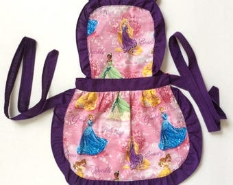 Kids Handmade Aprons, 'Princesses' Pattern, Little Girl Aprons, Children, Child