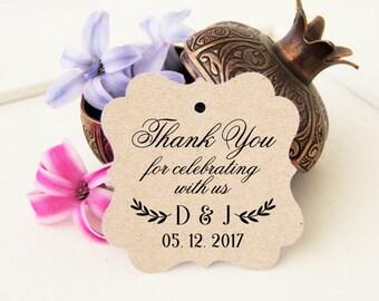 Wedding Thanks Tags, Rustic Wedding Favor Tags, Thank You Bridal Tags, 24 Wedding Thank You Favor Tags