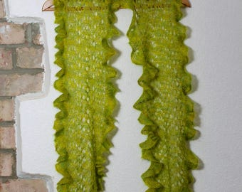 Ebb Tide Lace Knitted Scarf pattern with Ruffle Edging, instant download PDF pattern.