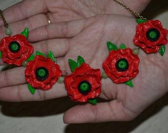 Necklace red poppies- Red jewelry - Polymer clay jewelry  - flower jewelry