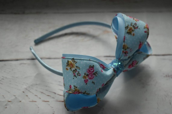 Blue floral Hair Bow - Girls / Kids Hairband / Headband / barrette / Hair clip / Aliceband