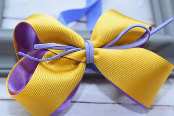 Yellow and lilac  bow headband - Baby / Toddler / Girls / Kids Headband / Hairband / Hair bow / Barrette / Hairclip