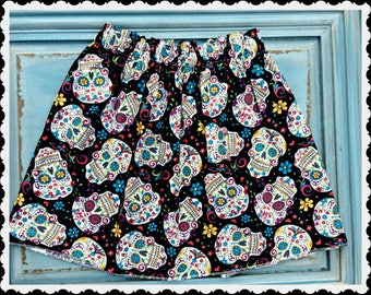 girls Sugar Skull skirt 2T 3T 4T 5T 4/5 6/6X 7/8 10/12 14/16 ready to ship