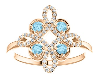 Diamond Aquamarine Statement Ring, Floral, Conflict Free, 14K, 18K, Platinum