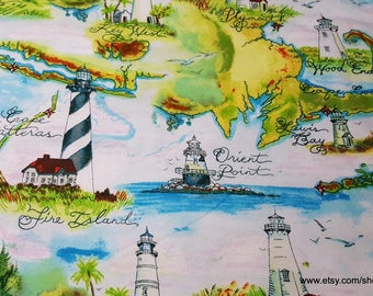 Flannel Fabric - Lighthouse Destinations - 1 yard - 100% Cotton Flannel