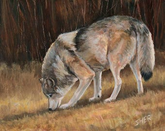 On the Trail - Wolf Painting
