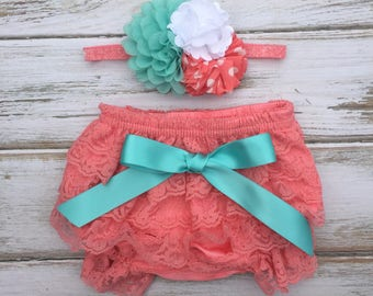 Coral, Aqua and White Lace Petti Bloomer Set with Satin Bow and Matching Headband - Cake Smash Outfit - First Birthday - Photography Prop