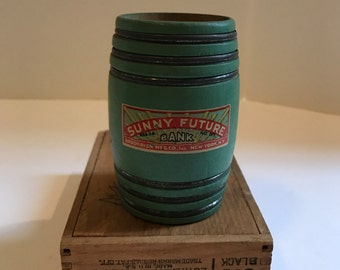 """ON SALE!! Vintage """"Sunny Future"""" Toy Wooden Savings Bank"""