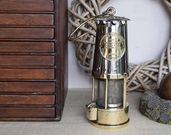 Old Vintage English Metal And Brass Miner's Lamp