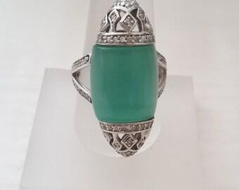 Cat's Eye Ring, Silver Ring, Zircon Ring, Sterling Silver Ring